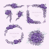 Purple floral frame for invitation cards and graphics. - 232245086