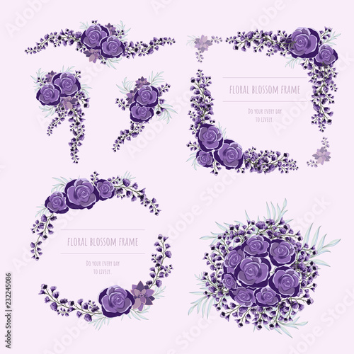 Poster Purple floral frame for invitation cards and graphics.