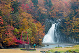 Leaves color change Beautiful waterfall In the fall leaves In Yamagata Japan