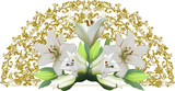 gold half circle design with white lilies