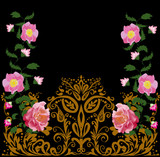 pink flowers in decorated gold ornament on black