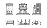 City street elements set, urban infrastructure objects, city buildings, fence, bench, bicycle linear vector Illustration on a white background - 232250445
