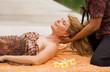 Leinwandbild Motiv Woman enjoying relaxing neck massage