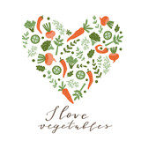 Hand drawn colorful doodle vegetables  in the shape of a heart. Vegetarian meal. Vegetable love background. Healthy restaurant  menu. Vector illustration. - 232255292