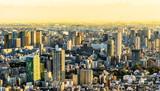 tokyo tower and city skyline under sunset