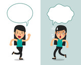 Cartoon vector character a woman expressing different emotions with speech bubbles - 232258466