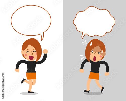 Cartoon vector character cute woman expressing different emotions with speech bubbles - 232258481