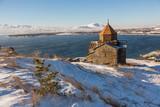 Sevanavank temple complex on  Lake Sevan in winter,Armenia. - 232259218