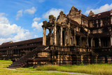 Ancient Angkor Wat temple with blue sky in Cambodia - 232260202