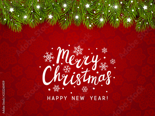 Christmas tree border with holiday decor on red © evgeniya_m
