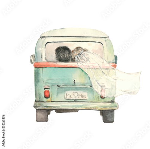 just married couple in the bus, watercolor - 232263856