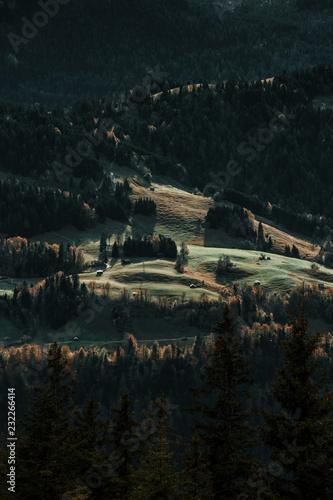Alpenhütten auf grünen Wiesen in den Bergen bei Österreich im Herbst