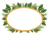 Card Template with Golden Frame and Christmas Plant - 232268223
