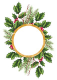 Card Template with Holly and Christmas Tree - 232268224