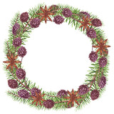 Wreath with Watercolor Cinnamon and Christmas Tree - 232268283