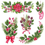 Set of Watercolor Christmas Compositions Isolated on White Background - 232268455