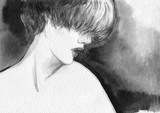 beautiful woman. fashion illustration. watercolor painting - 232269445