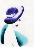 beautiful woman. fashion illustration. watercolor painting - 232269497