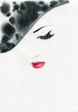 beautiful woman. fashion illustration. watercolor painting - 232269630