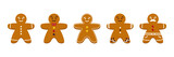 Set, collection of cute cartoon gingerbread man, christmas traditional cookies, biscuits isolated on white background. - 232270204