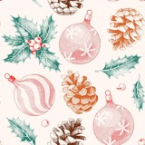 Seamless pattern with pine cones and xmas toys - 232271033