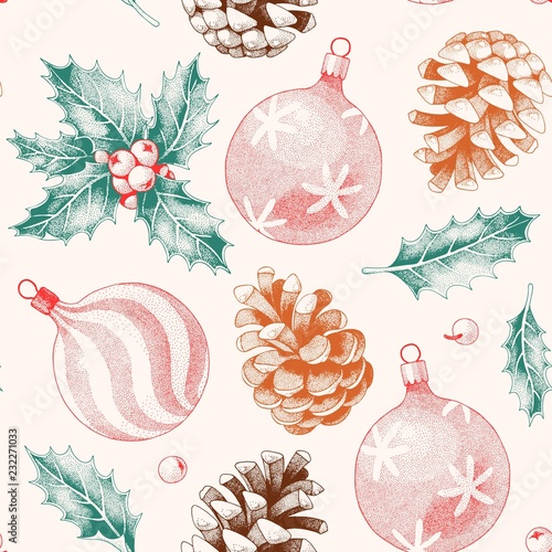 Seamless pattern with pine cones and xmas toys