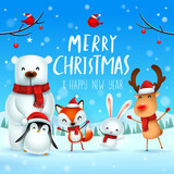 Merry Christmas and Happy New Year! Christmas Cute Animals Character. Happy Christmas Companions. Polar Bear, Fox, Penguin, Bunny and Red Cardinal Bird under the moonlight. Winter landscape. - 232272671