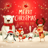 Merry Christmas and Happy New Year! Christmas Cute Animals Character. Happy Christmas Companions. Polar Bear, Fox, Penguin, Bunny and Red Cardinal Bird under the moonlight. Winter landscape. - 232272677