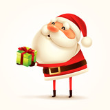 Santa Claus with gift present. Isolated. - 232273401