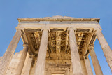 Ancient building with columns on Acropolis of Athens territory.