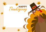 Thanksgiving day card. Turkey with hat. - 232281250
