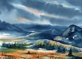 Watercolor Landscape with Autumn Hills - 232282060