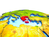 Greece on 3D Earth with visible countries and blue oceans with waves. - 232282069