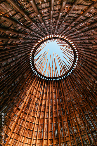 Bamboo building structure with skylight ceiling