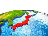 Japan on 3D Earth with visible countries and blue oceans with waves.