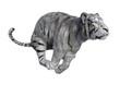 3D Rendering White Tiger on White