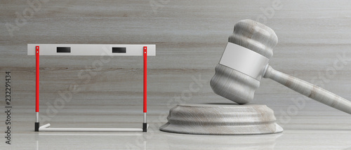 Hurdle and judge gavel against wooden background, 3d illustration.