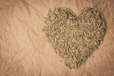 Fennel dill seeds heart shaped on paper surface - 232299473
