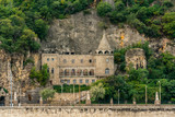 Front view of the beautiful old stone church at Gellért Hill Cave i Budapest Hungary. - 232301646