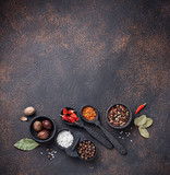 Various type of dry herbs and spices - 232303820