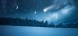 Quadro Sternenhimmel über Winterwald