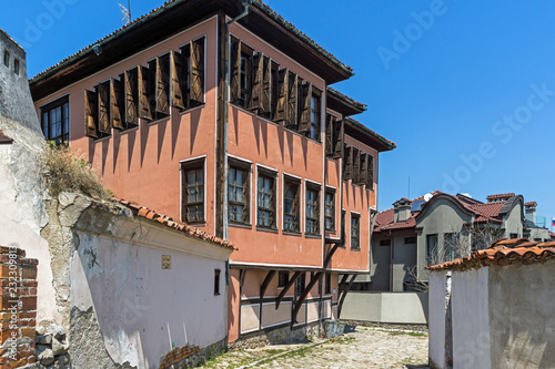 Typical street and houses from the period of Bulgarian revival in old town of  city of Plovdiv, Bulgaria