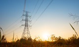 Electricity transmission power tower over sunset sky background - 232311460