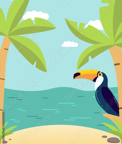 Summer poster with the sandy beach with palm trees and the tropical island with exotic birds a toucan. Rest in the resort in a holiday. In flat style a vector.Sea landscape