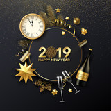 Happy New Year 2019 card with Christmas decorations, Champagne, fir and clock. - 232316052