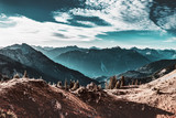 Dramatic view of steep mountains