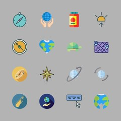 earth icon set. vector set about turtle, wind rose, compass and ecology icons set.