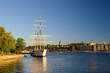 Leinwanddruck Bild - White ship hostel af Chapman moored on Lake Malaren, Stockholm, Sweden