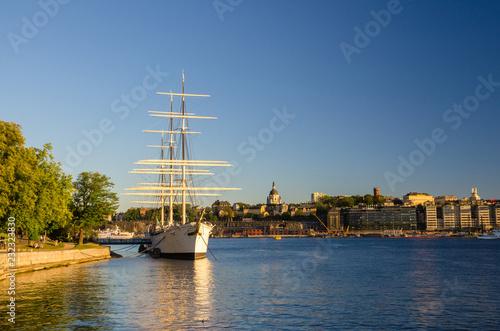 Leinwanddruck Bild White ship hostel af Chapman moored on Lake Malaren, Stockholm, Sweden