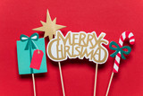 Christmas photo booth props on a red background - 232329478